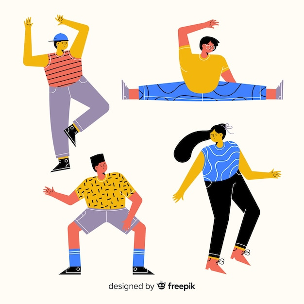 Young people dancing Free Vector