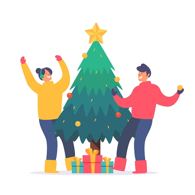 Young people decorating christmas tree Free Vector