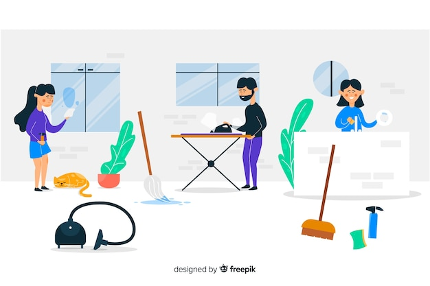 Young people doing chores illustrated Free Vector