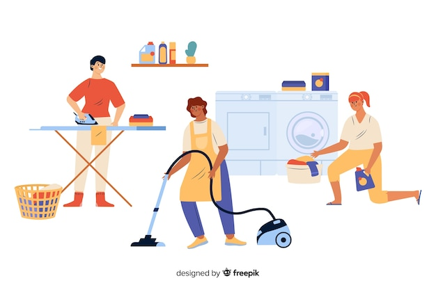 Young people doing housework Free Vector