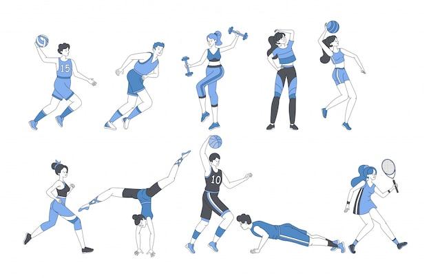 Молодые люди делают спортивные мероприятия фитнес тренировки или играть в спортивные игры. Premium векторы