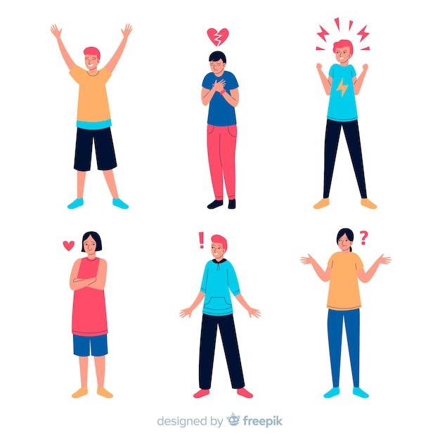 Young people emotions illustrated Free Vector