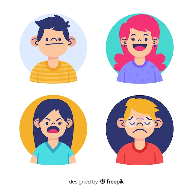 Young people emotions Free Vector