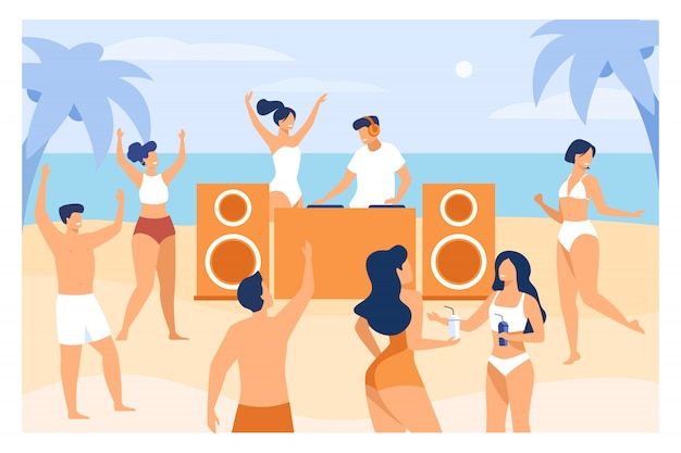Young people enjoying tropical sunset party Free Vector