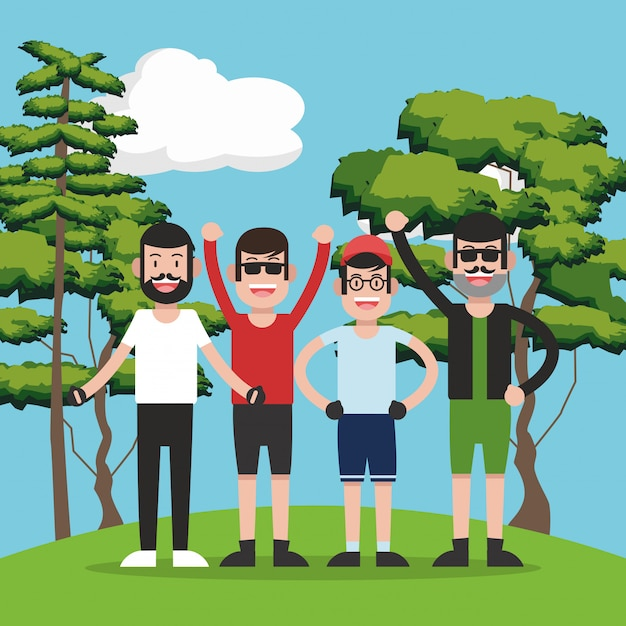 Young people on forest cartoon Premium Vector