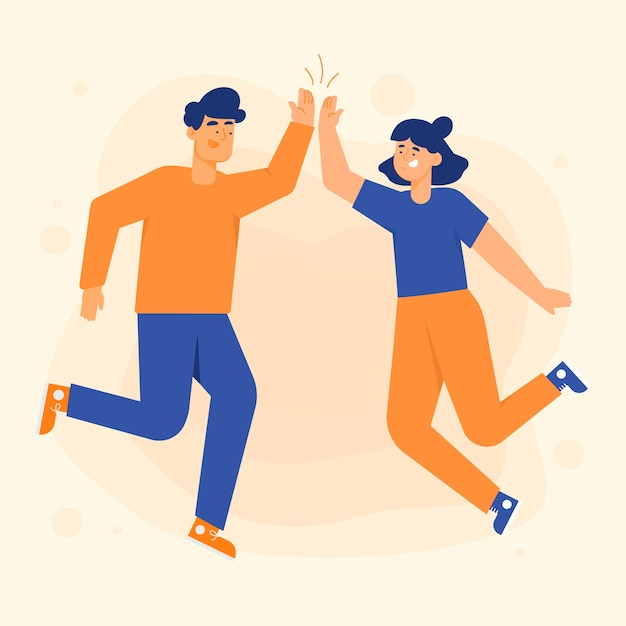 Young people giving high five illustrations set Free Vector