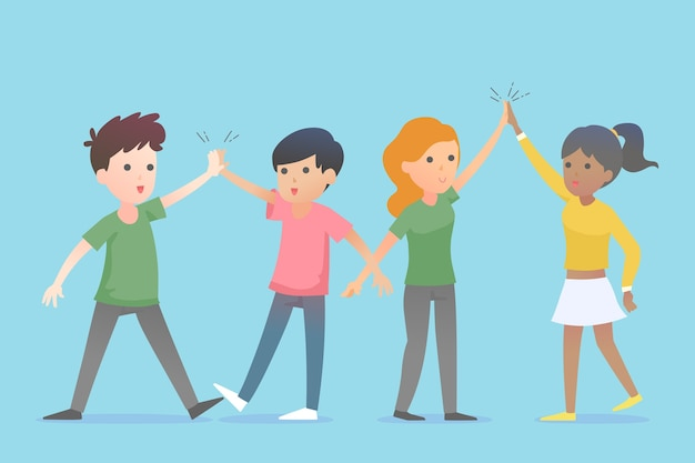 Young people giving high five Free Vector