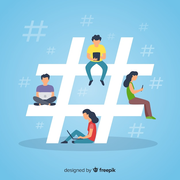Young people hashtag concept background Free Vector
