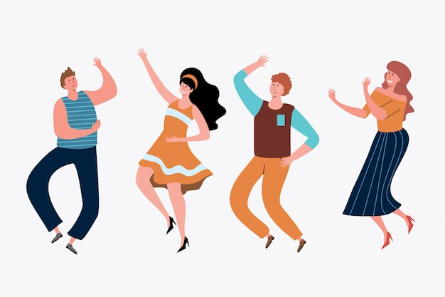 Young people having party set Free Vector