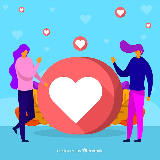 Young people heart symbol background Free Vector
