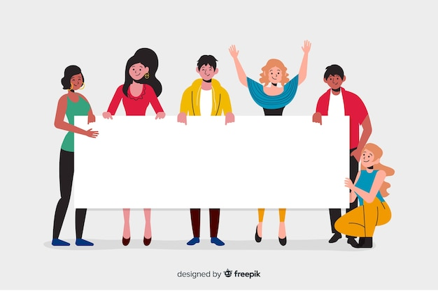 Young people holding blank banner Free Vector