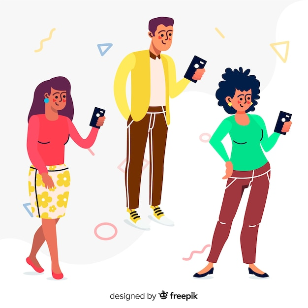 Young people holding smartphones Free Vector