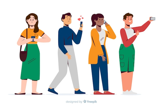 Young people holding their smartphones Free Vector