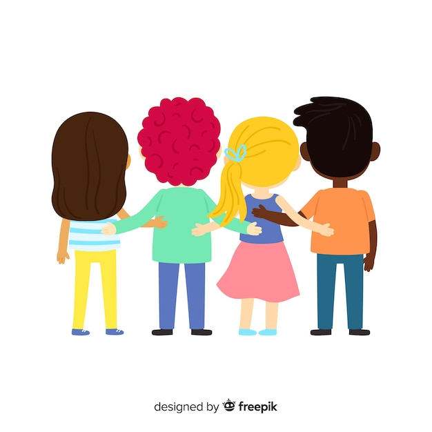 Young people hugging together background Free Vector