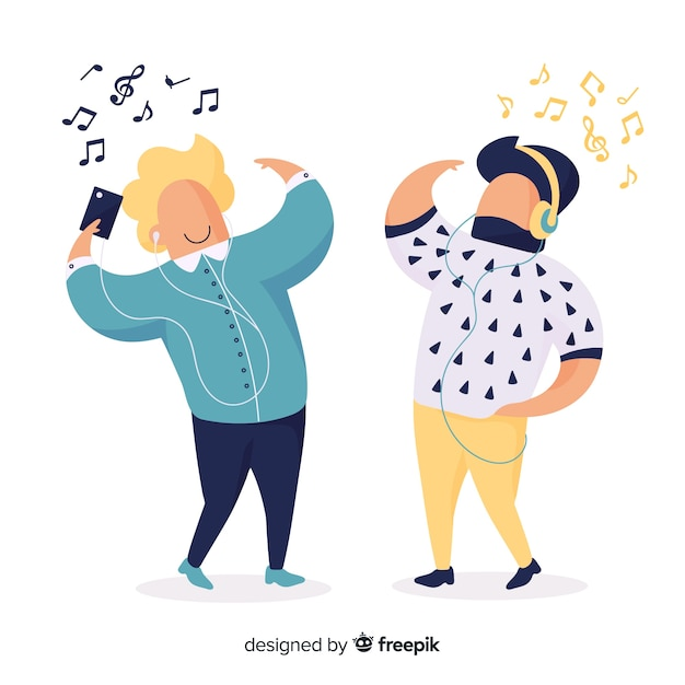 Young people illustration listening music Free Vector
