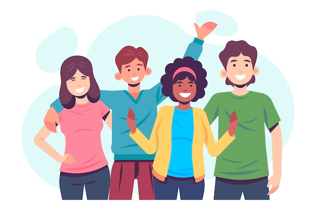 Young people illustration Premium Vector
