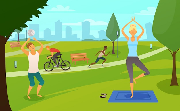 Young people involved in sports in park design composition Free Vector