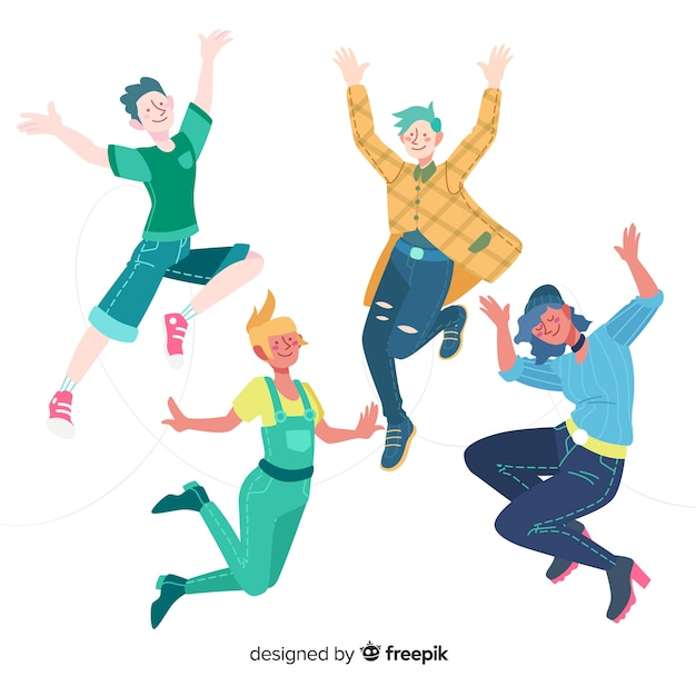 Young people jumping flat design Free Vector