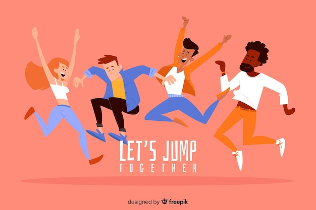 Young people jumping and having fun Free Vector