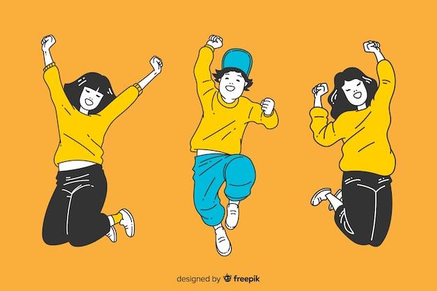 Молодые люди прыгают в корейском стиле рисования Premium векторы