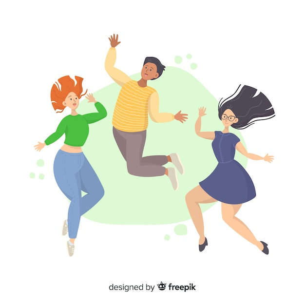 Young people jumping together illustrated Free Vector