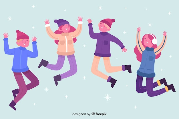 Young people jumping while wearing winter clothes illustrated Free Vector