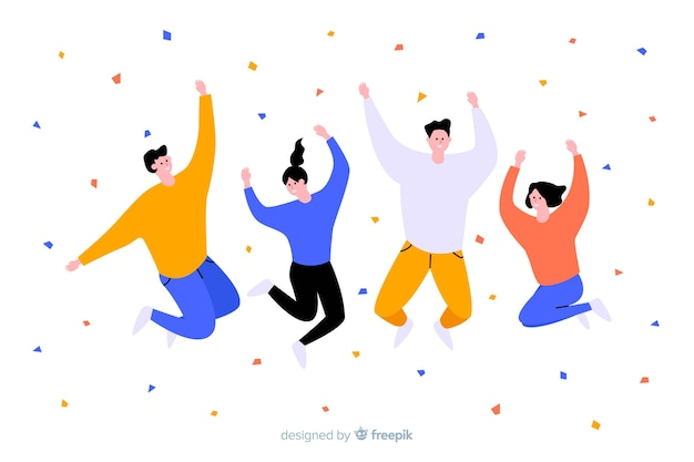 Young people jumping Free Vector