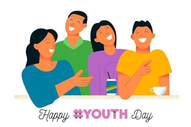 청소년의 날 행사를 웃고있는 젊은이들 무료 벡터