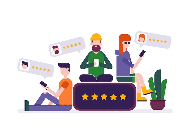 Young people leaving five star rating review feedback in smartphone Premium Vector