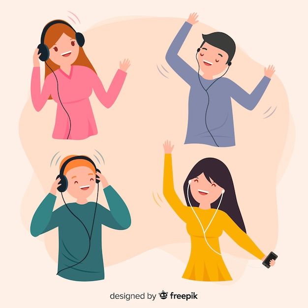 Young people listening to music collection Free Vector