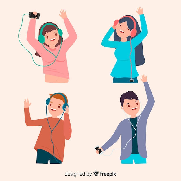 Young people listening to music set Free Vector