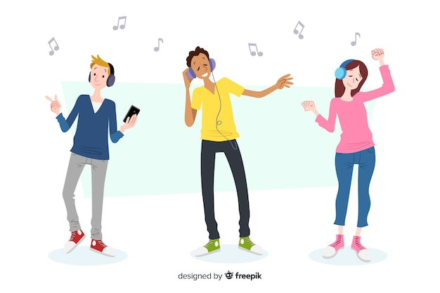Young people listening to music Free Vector