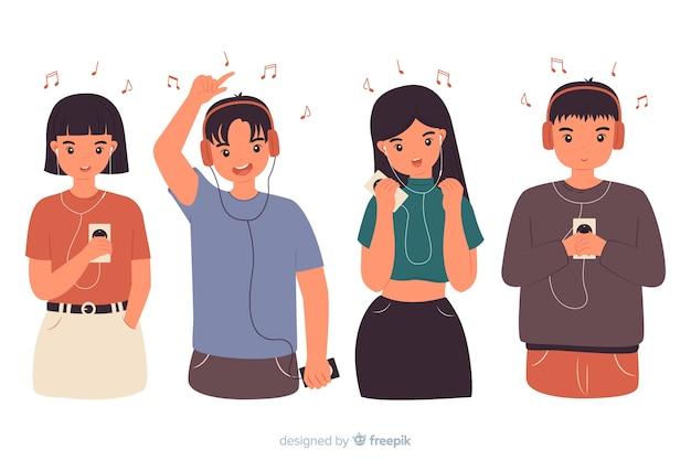 Молодые люди слушают музыку Бесплатные векторы