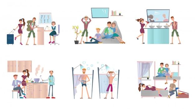 ホステルに住んでいる若者。安いホテルの男性と女性。イラストセット、白い背景の上。 Premiumベクター
