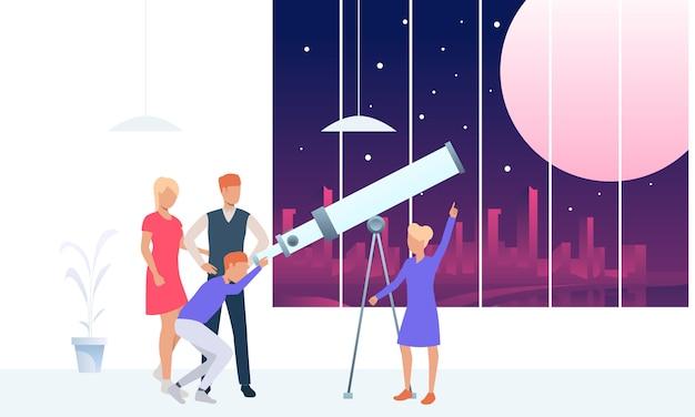 Молодые люди смотрят на луну через телескоп Бесплатные векторы