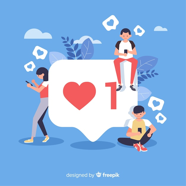 Молодые люди ищут лайки в социальных сетях Premium векторы
