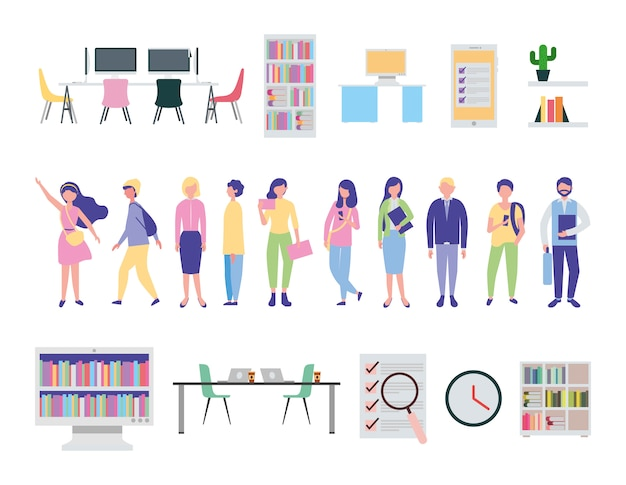 Young people and office equipment icons Free Vector