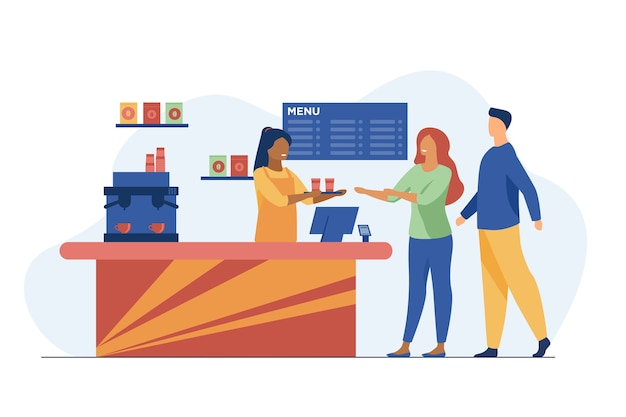 Young people ordering takeaway coffee in cafe. barista, chat, network flat vector illustration. hot beverages and service Free Vector