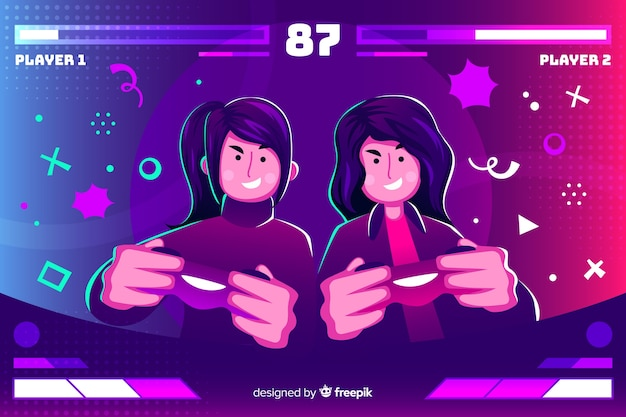 Young people playing with the computer Free Vector