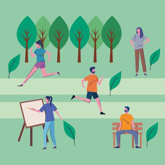 公園のベクトルイラストデザインで活動を実践している若者 Premiumベクター