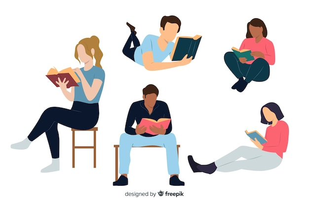 Young people reading a book Premium Vector