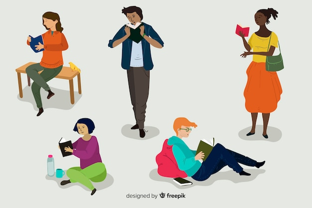 Young people reading a book Free Vector