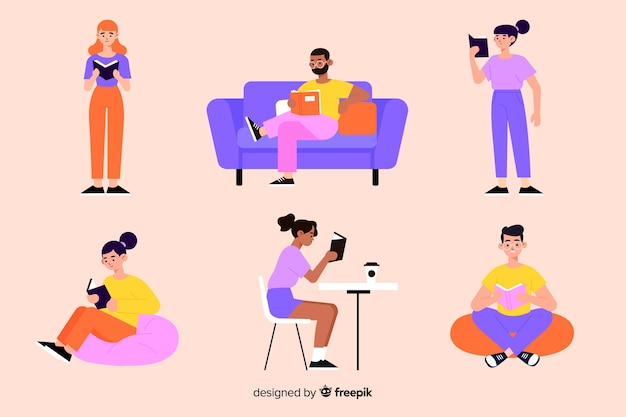 Young people reading colorful illustration Free Vector