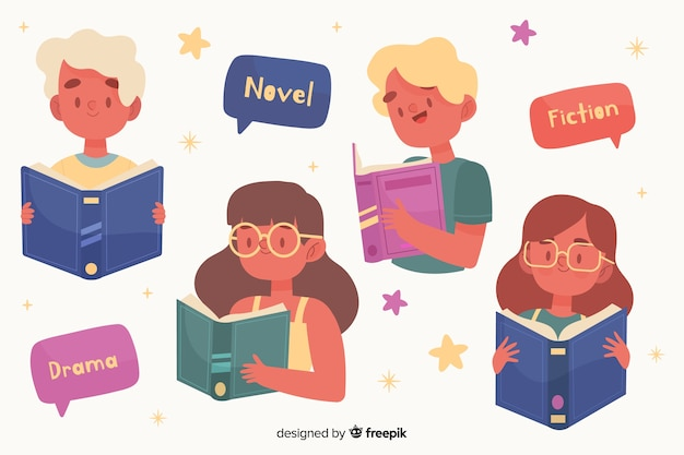 Young people reading design for illustration Free Vector
