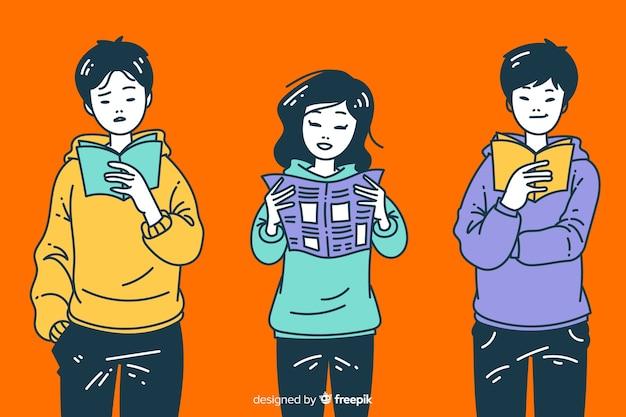 Молодые люди читают в корейском стиле рисования Premium векторы