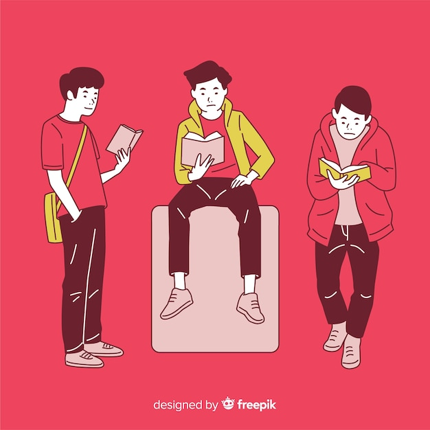 Young people reading in korean drawing style with red background Free Vector
