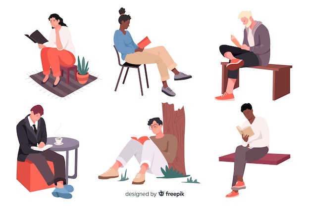 Young people reading and relaxing Premium Vector