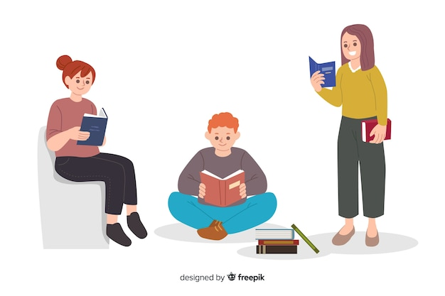 Young people reading together Free Vector