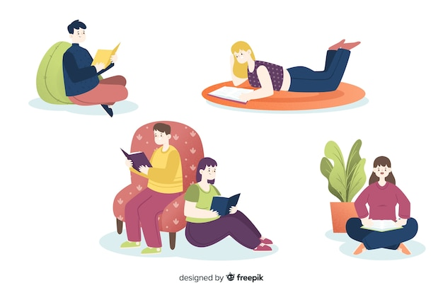 Young people reading in variety position Free Vector