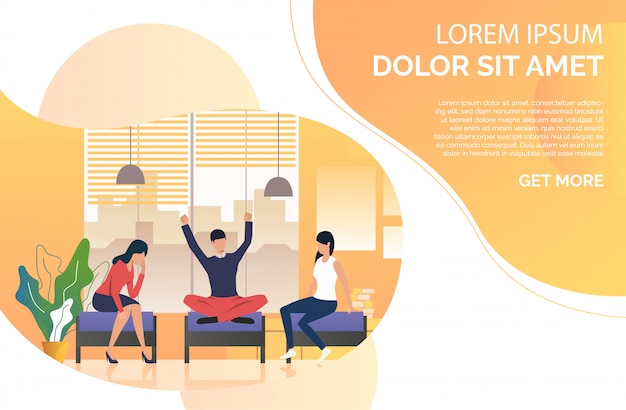 Young people resting in lounge Free Vector